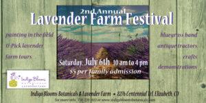 2nd Annual Indigo Blooms Lavender Farm Festival July 6, 2019